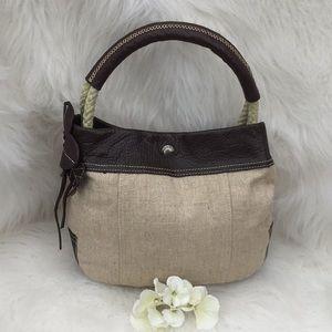 🆕Franco Sarto Linen and Leather Shoulder Bag
